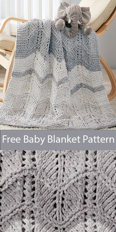 Free Knitting Pattern for Easy Quick Dappled Lacy Chevrons K. Free Knitting Pattern for Easy Quick Dappled Lacy Chevrons Knit Baby Blanket - Need a quick baby gift. Chevron Baby Blankets, Free Baby Blanket Patterns, Knitted Baby Blankets, Crochet Blanket Patterns, Baby Blanket Crochet, Knitting Patterns Free, Bernat Baby Blanket, Knitted Afghans, Knitting Ideas