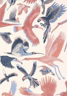 Birds in Pastels Art And Illustration, Pattern Illustration, Illustrations, Bird Patterns, Graphic Patterns, Textures Patterns, Surface Pattern Design, Pattern Art, Tag Art