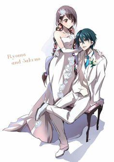 Ryoma and Sakuno Manga Anime, Old Anime, Prince Of Tennis Anime, Anime Prince, Anime Wedding, Manga Games, Cute Anime Couples, Anime Love, Kawaii Anime
