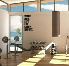 Home Gym - Dont really like the phrase on the wall, but could easily make something like this with the Cricut - http://amzn.to/2fSI5XT