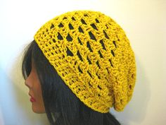 Mustard Yellow Slouchy Hat by fablewood on Etsy, $35.00