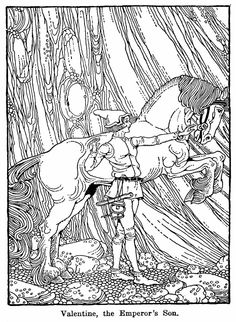 Free Printable Adult Coloring Page Fantasy Fairy Tale Boy With His Horse