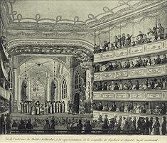 Hier zie je hoe het toneelstuk Gijsbrecht van Aemstel wordt opgevoerd in de nieuwe schouwburg. Het stuk werd geschreven door Joost van den Vondel, het verhaal was een tragedie en werd zeer bekend.