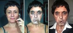 Pin for Later: 1 Woman Transforms Into Johnny Depp, Queen Elizabeth, and More With Makeup Al Pacino in Scarface Celebrity Makeup Transformation, Italian Makeup, Rambo, Best Makeup Artist, High Fashion Makeup, Pin Up, Best Eyebrow Products, Mermaid Makeup, Fairy Makeup