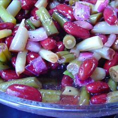 My husband (who hates green beans) and my grandchildren all say Hurray, bean salad! The sweetness of the wine vinegar makes a change from the sour white vinegar that is used in most recipes. 3 Bean Salad, Three Bean Salad, Bean Salad Recipes, Healthy Cooking, Cooking Recipes, Healthy Foods, Healthy Eating, Healthy Recipes, Red Onion Recipes