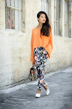 Sabo Skirt shaggy sweater, Sabo Skirt floral pants, & Alexander Wang joan pumps