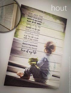 Foto op houten plaat met tekstje @ De Kaartjesboetiek  www.twindesignbvba.be