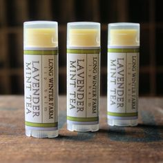 Lavender, spearmint, green tea, and a little vanilla to settle it down. This balm is designed to melt into your lips, not into your jeans! Which is good, because I keep mine in my butt pocket. That wo
