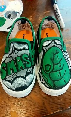 Hulk Painted Shoes by SamsVividCreations on Etsy