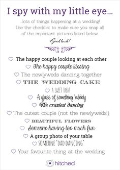 I Spy Wedding game from hitched