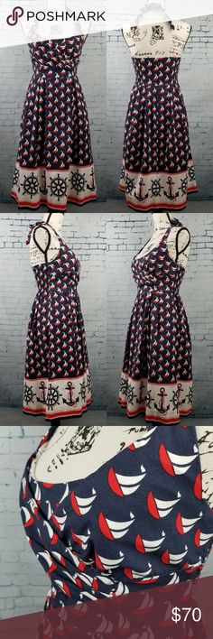 """Anthropologie Postmark Blue Red Sailboat Dress 0 Postmark Anthropologie Blue Red Sailboat Anchor Print Halter Dress Nautical Sz 0 Zipper back closure, Elastic panel on back, Dress feels almost like a canvas material Candy Pockets  Approximate Measurements are done flat and unstretched. Please check Armpit to Armpit 14"""" Wasit 13"""" Length 30.25 back side from back seam to hem  Length 34"""" front side on side from strap seam to hem  Straps 1""""x28"""" Across the hem 30"""" Color may be slightly different…"""