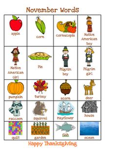 The Very Busy Kindergarten: Thanksgiving Chart of Words