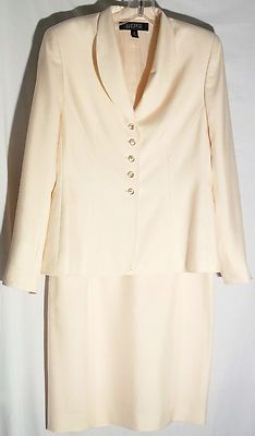KASPER Silk Pale Peach Skirt Suit - Clear Buttons - Straight Skirt - Size 6