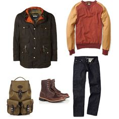Barbour Olive And Orange Tweed Waxed Parka | APC Selvedge New Standard Straight Leg Jeans | Levis Vintage Clothing Red Vintage Washed Crew Sweat Top | Red Wing Cherry Brown Commando Logger Boots | Chapman #fashion #apparel  Bags Deep Olive Canvas Backpack