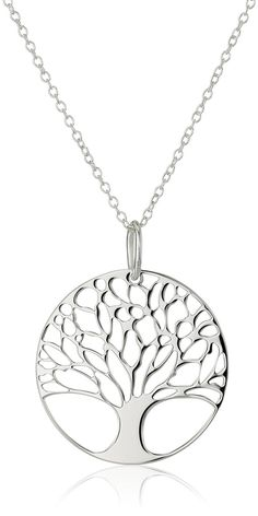 Sterling Silver Tree of Life Disk Chain Pendant Necklace ** You can get more details by clicking on the image.