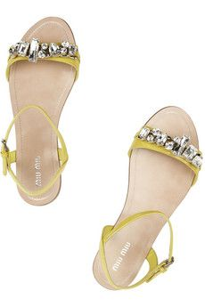 Miu Miu embellished leather sandals. Can't wait to go to the new Miu Miu at the mall! Can't open fast enough.