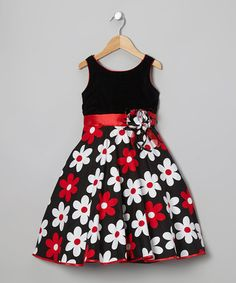 Take a look at this Black & Red Flower Dress - Toddler & Girls on zulily today! Pretty me Toddler Girl Dresses, Toddler Outfits, Kids Outfits, Toddler Girls, Little Girl Fashion, Kids Fashion, Little Girl Dresses, Girls Dresses, 50s Dresses