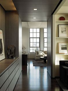 House Design Styles Create Comfortable Sensation : Beautiful Hall Decor With Open Wall Shelving TriBeCa Loft Style At Home, Interior Architecture, Interior And Exterior, Home And Living, Living Room, Modern Living, Living Styles, Beautiful Interiors, Dark Interiors