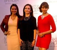 Sonakshi Sinha Bipasha Basu and Nita Ambani during launch of a retail store