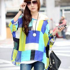New Women Chiffon Bohemia Blouse Summer Hot Printed Batwing Sleeve Loose Oversized Shirt Top Blusas Camisas Femininas