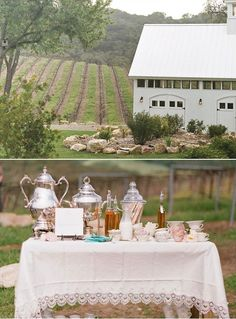 Vintage Coffee Station for Brunch Wedding Reception - outdoor farm wedding - coffee table - beverage table decor