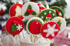 like the round cookie with snowflake and/or holly shapes on them,