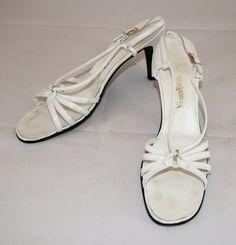 Vintage 1970s Strappy White High Heel Sandals