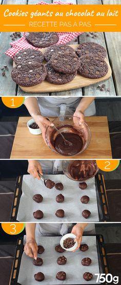 Cookies géants au chocolat au lait