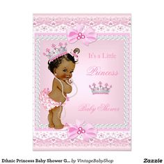 Ethnic Princess Baby Shower Girl Pink Pearls Tiara 5x7 Paper Invitation Card
