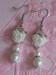 Pearl and Flower Earrings by RalstonOriginals, $12.00 www.RalstonOriginals.etsy.com