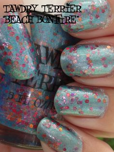 """@TawdryTerrier """"Beach Bonfire"""" prototype in the shade - check out our polishes at https://www.etsy.com/shop/TawdryTerrier #nailpolish #indienailpolish #tawdryterrier"""