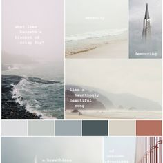 Mood Board: Foggy Love Letter From San Francisco A color palette study on foggy romantic places. Website Design, Web Design, Resume Design, Layout Design, Modern Design, Tableaux D'inspiration, Webdesign Inspiration, Mood And Tone, Design Graphique