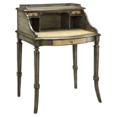 HOME DECOR – FURNITURE – DESK – Three-drawer wood desk with three open compartments and a hand-painted vine motif.  Product: Desk Construction Mate...