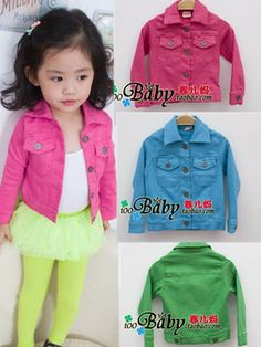 Girls jacket coat Retail 1 PCS 2013 denim jacket candy color Kids Child Baby outerwear girls coat fall clothing engine blue $12.90