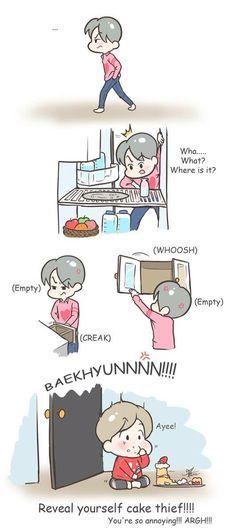 Sehun y Baek! Exo Cartoon, Exo Anime, Exo Fan Art, Exo Members, Kpop Fanart, Chanbaek, Beautiful Babies, Baekhyun, Chibi