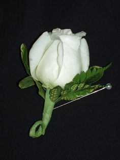 White rose with leather leaf bout