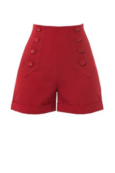style high waisted red sailor shorts front Beautiful Entry Table Decor Ideas to give some inspiration on updating your house Vintage Shorts, Vintage High Waisted Shorts, Vintage Outfits, Retro Shorts, Vintage Clothing, Vintage Dresses, Vintage Inspired Fashion, 1940s Fashion, Vintage Fashion