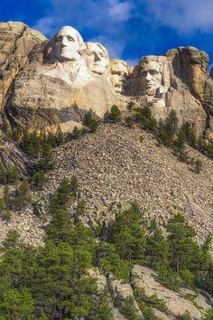 The faces of Mount Rushmore . South Dakota