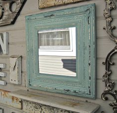 Framed Antique Tin Ceiling Tile Mirror. Circa 1910. Turquoise Blue Mirror. Architectural salvage. on Etsy, $85.00