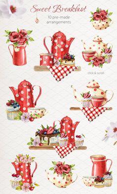 Decoupage Vintage, Decoupage Paper, Watercolor Illustration, Watercolor Art, Tea Party Supplies, Decoupage Printables, Tea Art, Food Illustrations, Happy Planner