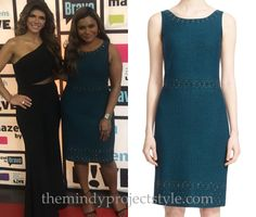 Mindy wore this green embellished dress when she appeared on Watch What Happens: Live!