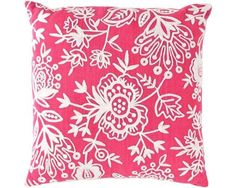 Pink Floral Crewel Indoor Outdoor Pillow