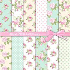 SUGAR ROSES - Digital Paper - Printable Paper - Decoupage Paper - Scrapbook Paper - Floral - Pastel Paper - Roses - Flowers - Elegant - Soft...
