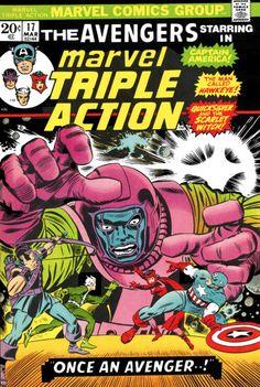 """The Avengers vs Kang, in Marvel Triple Action #17 reprint of Avengers #23 """"Once An Avenger!"""", Art: Jack Kirby, John Romita, Sr, 1965"""