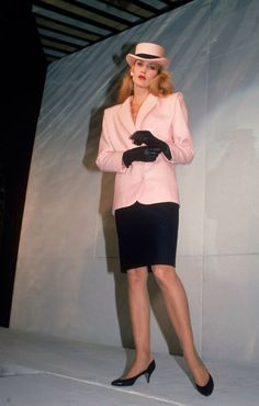 2. 80's power suits and contrast gloves. Jerry Hall