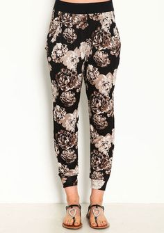 Floral Print Jogger Pants, BLACK