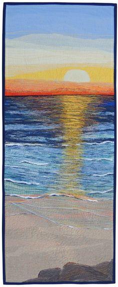 "Textile art quilt by Rebekah Dundon ""Morning Colours"", thread painted art quilt"