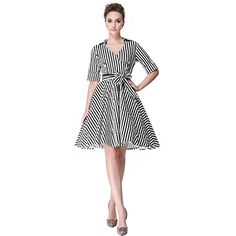 Heroecol Womens Vintage 1950s Dresses Cross V Neck Short Sleeve 50s 60s Style Retro Swing Cotton Dress Size XL Color Black Stripe * You can get more details by clicking on the image.