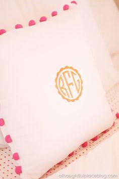 monogramed pillow inspiration - Pottery Barn Teen