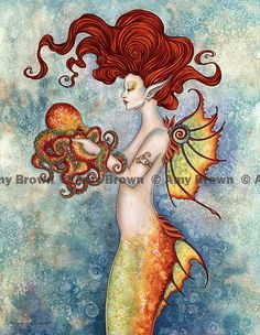 Mermaid and Octopus 8.5x11 PRINT by Amy Brown on Etsy, $14.00